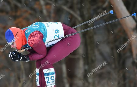 Competitions were held in the Ski Center of Alpensia. Russian athlete Andrey Melnichenko during the race.