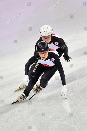 (L-R) Sumire Kikuchi,  Yuki Kikuchi (JPN) - Short Track : Women's 3000m Relay Heat at Gangneung Ice Arena during the PyeongChang 2018 Olympic Winter Games in Gangneung, South Korea.