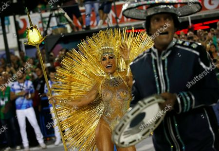 Drum queen Sabrina Sato from the Vila Isabel samba school dances during Carnival celebrations at the Sambadrome in Rio de Janeiro, Brazil