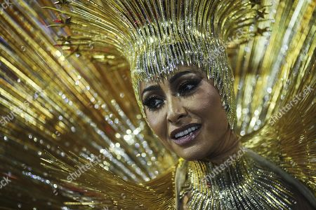 Stock Image of Sabrina Sato, TV host and drum queen of the samba school Grupo Especial Vila Isabel, takes part in the Carnival celebration at the Marques de Sapucai sambodrome in Rio de Janeiro, Brazil, 11 February 2018.