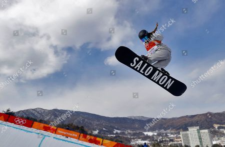 Maddie Mastro, of the United States, runs the course during the women's halfpipe qualifying at Phoenix Snow Park at the 2018 Winter Olympics in Pyeongchang, South Korea