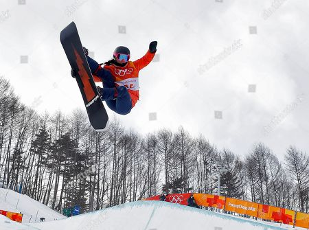 Sophie Rodriguez, of France, jumps during the women's halfpipe qualifying at Phoenix Snow Park at the 2018 Winter Olympics in Pyeongchang, South Korea