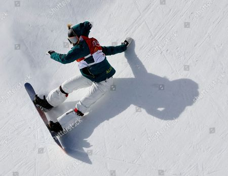 Emily Arthur, of Australia, runs the course during the women's halfpipe qualifying at Phoenix Snow Park at the 2018 Winter Olympics in Pyeongchang, South Korea