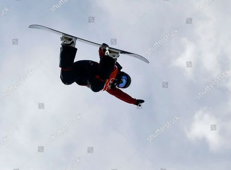 Liu Jiayu, of China, jumps during the women's halfpipe qualifying at Phoenix Snow Park at the 2018 Winter Olympics in Pyeongchang, South Korea
