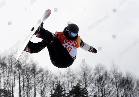 Mercedes Nicoll, of Canada, jumps during the women's halfpipe qualifying at Phoenix Snow Park at the 2018 Winter Olympics in Pyeongchang, South Korea