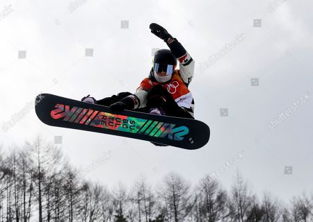 Elizabeth Hosking, of Canada, jumps during the women's halfpipe qualifying at Phoenix Snow Park at the 2018 Winter Olympics in Pyeongchang, South Korea