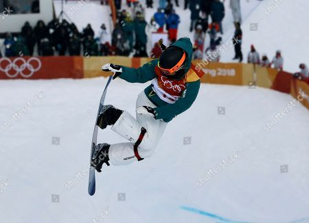 Emily Arthur, of Australia, jumps during the women's halfpipe qualifying at Phoenix Snow Park at the 2018 Winter Olympics in Pyeongchang, South Korea