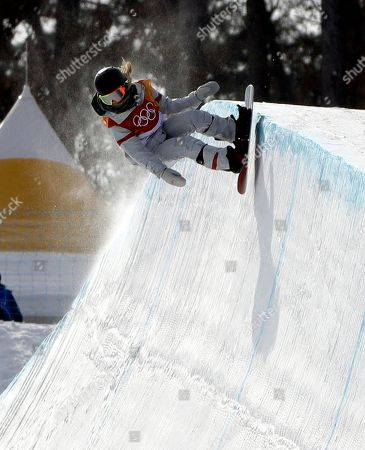 Chloe Kim, of the United States, runs the course during the women's halfpipe qualifying at Phoenix Snow Park at the 2018 Winter Olympics in Pyeongchang, South Korea