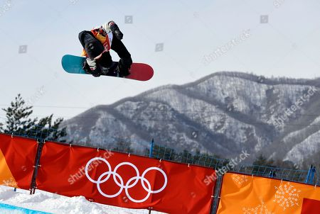 Calynn Irwin, of Canada, jumps during the women's halfpipe qualifying at Phoenix Snow Park at the 2018 Winter Olympics in Pyeongchang, South Korea