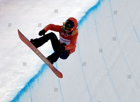 Mirabelle Thovex, of France, jumps during the women's halfpipe qualifying at Phoenix Snow Park at the 2018 Winter Olympics in Pyeongchang, South Korea