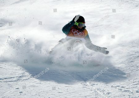 Emily Arthur, of Australia, crashes during the women's halfpipe qualifying at Phoenix Snow Park at the 2018 Winter Olympics in Pyeongchang, South Korea