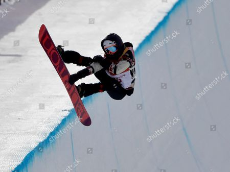 Calynn Irwin, of Canada, runs the course during the women's halfpipe qualifying at Phoenix Snow Park at the 2018 Winter Olympics in Pyeongchang, South Korea