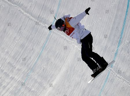 Haruna Matsumoto, of Japan runs the course during the women's halfpipe qualifying at Phoenix Snow Park at the 2018 Winter Olympics in Pyeongchang, South Korea