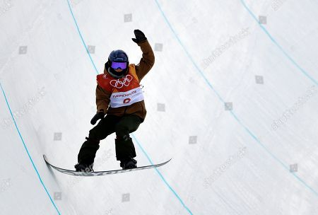Queralt Castellet, of Spain, jumps during the women's halfpipe qualifying at Phoenix Snow Park at the 2018 Winter Olympics in Pyeongchang, South Korea
