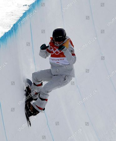 Arielle Gold, of the United States, runs the course during the women's halfpipe qualifying at Phoenix Snow Park at the 2018 Winter Olympics in Pyeongchang, South Korea