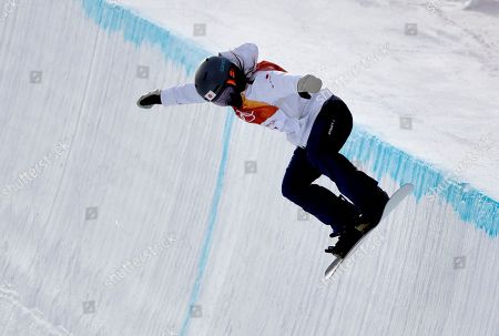 Hikaru Oe, of Japan, runs the course during the women's halfpipe qualifying at Phoenix Snow Park at the 2018 Winter Olympics in Pyeongchang, South Korea