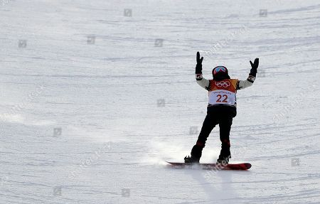 Calynn Irwin, of Canada, reacts after crashing during the women's halfpipe qualifying at Phoenix Snow Park at the 2018 Winter Olympics in Pyeongchang, South Korea