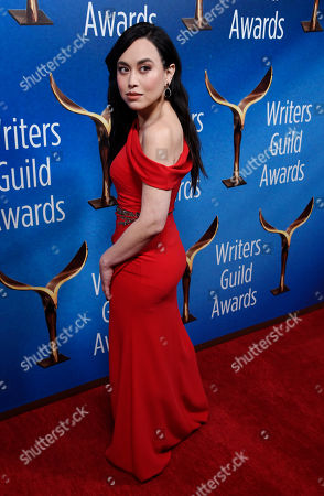 Stock Photo of Actress Ivory Aquino poses at the 2018 Writers Guild Awards at the Beverly Hilton, in Beverly Hills, Calif