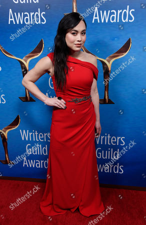 Stock Picture of Actress Ivory Aquino poses at the 2018 Writers Guild Awards at the Beverly Hilton, in Beverly Hills, Calif