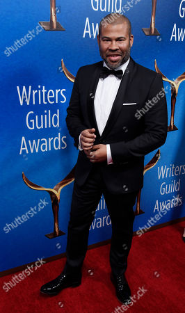 """Jordan Peele, writer/director of """"Get Out,"""" poses at the 2018 Writers Guild Awards at the Beverly Hilton, in Beverly Hills, Calif"""