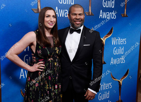 """Jordan Peele, Chelsea Peretti. Jordan Peele, writer/director of """"Get Out,"""" poses with his wife Chelsea Peretti at the 2018 Writers Guild Awards at the Beverly Hilton, in Beverly Hills, Calif"""