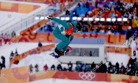 Holly Crawford of Australia competes in the Women's Snowboard Halfpipe qualification at the Bokwang Phoenix Park during the PyeongChang 2018 Olympic Games, South Korea, 12 February 2018.