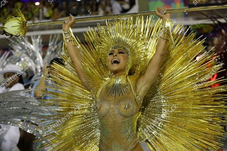 Drum queen Sabrina Sato from the Vila Isabel samba school performs during the Carnival parade at the Sambadrome in Rio de Janeiro, Brazil, early