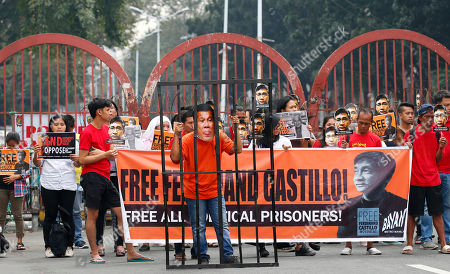 Protesters display cutouts of detained communist peace talks consultant Ferdinand Castillo as they hold a rally with a mock jail cell of President Rodrigo Duterte to call for the release of Castillo and another re-arrested communist leader Rafael Bayosis near the Presidential Palace in Manila, Philippines. Duterte ordered the arrest of communist rebel leaders following the collapse of the peace talks recently that was brokered by Norway. The protesters also condemned the Duterte's government alleged attack on activists and critics