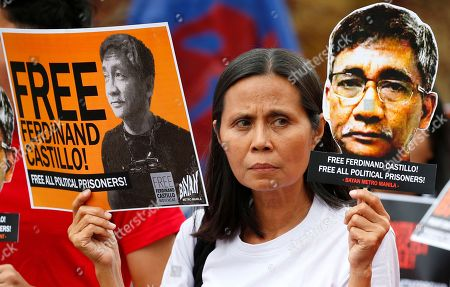 Protesters display cutouts of detained communist peace talks consultant Ferdinand Castillo during a rally to call for the release of Castillo and another re-arrested communist leader Rafael Bayosis near the Presidential Palace in Manila, Philippines. President Rodrigo Duterte ordered the arrest of communist rebel leaders following the collapse of the peace talks recently that was brokered by Norway. The protesters also condemned the Duterte's government alleged attacks on activists and critics