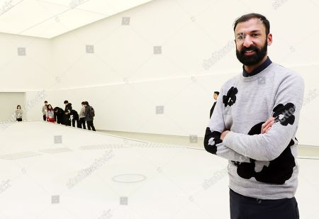 British designer Asif Khan explains his new work 'Universe' set up at Olympic Plaza in PyeongChang, the venue for the ongoing Winter Olympics, 12 February 2018.
