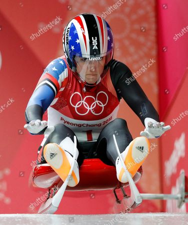 Erin Hamlin of the United States starts her first run during the women's luge competition at the 2018 Winter Olympics in Pyeongchang, South Korea