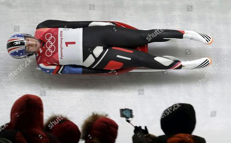 Erin Hamlin of the United States competes in her first run during the women's luge competition at the 2018 Winter Olympics in Pyeongchang, South Korea