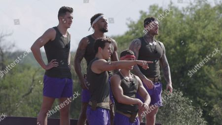 Ryan Cleary, David Lundy, James Middleton, Tristan Jones and Warren Phillips watch Dani Mas Dyer and Callum Pardoe face off in the challenge. Dani Mas Dyer hurts her shoulder and is seen by a medic. She has to go to hospital and the challenge is void