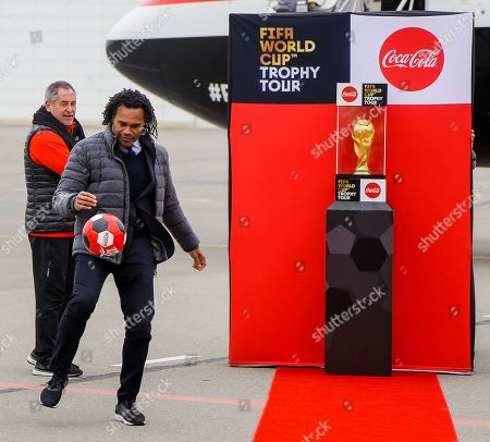 Christian Karembeu shows performance 2018 FIFA World Cup during the FIFA World Cup Trophy Tour presented by Coca-Cola at Heydar Aliyev Airport