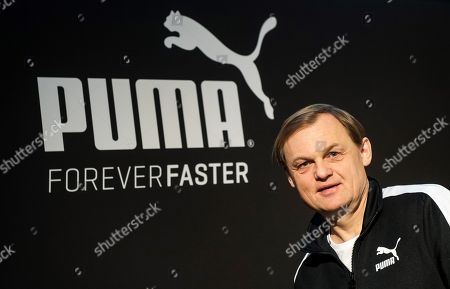 Bjorn Gulden, CEO of Puma, stands in front of the company's logo at the annual earnings press conference in Herzogenaurach, Germany, 12 February 2018. The sporting goods manufacturer increased its sales in 2017 by 15.9 percent to 4.136 million euros. The operating result (EBIT) is up to 245 million euros according to the management.