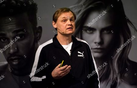 Bjorn Gulden, CEO of Puma, speaks during the annual earnings press conference in Herzogenaurach, Germany, 12 February 2018. The sporting goods manufacturer increased its sales in 2017 by 15.9 percent to 4.136 million euros. The operating result (EBIT) is up to 245 million euros according to the management.