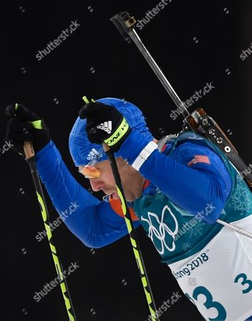 Lowell Bailey of the USA in action during the Men's Biathlon 12,5 km Pursuit race at the Alpensia Biathlon Centre during the PyeongChang 2018 Olympic Games, South Korea, 12 February 2018.