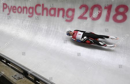 Erin Hamlin of Canada in action during the Women's Luge Singles competition at the Olympic Sliding Centre during the PyeongChang 2018 Olympic Games, South Korea, 12 February 2018.