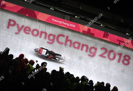 Erin Hamlin of the USA in action during the Women's Luge Singles competition at the Olympic Sliding Centre during the PyeongChang 2018 Olympic Games, South Korea, 12 February 2018.