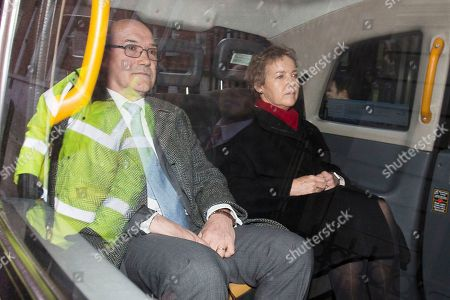 The Oxfam Charity's CEO Mark Goldring (L) and Chair Caroline Thomson (R) leave the Department of International Trade and Development in London, Britain, 12 February 2018. Oxfam is engulfed in a scandal in which worker are alleged to have paid prostitutes for sex in the aftermath of the 2010 earthquake in Haiti.