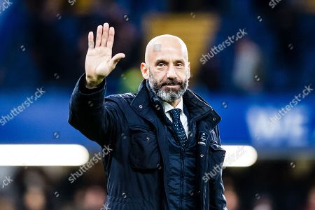 Gianluca Vialli  during the  half time at Premier League match between Chelsea and West Bromwich Albion at Stamford Bridge, London. Picture by Sebastian Frej