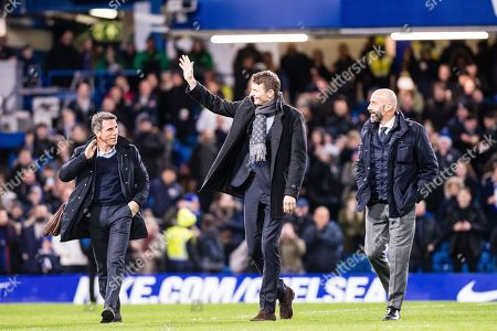 Gianfranco Zola , Tore andre Flo and Gianluca Vialli  during the half time at  Premier League match between Chelsea and West Bromwich Albion at Stamford Bridge, London. Picture by Sebastian Frej