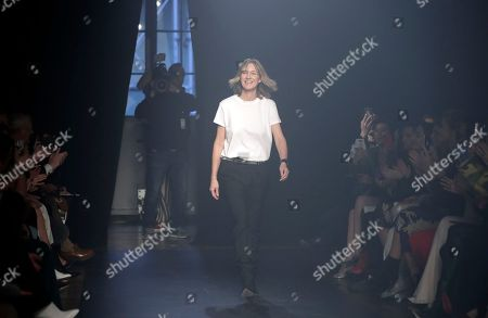 Fashion designer Cecilia Bonstrom walks on the runway at the conclusion of her Zadig and Voltaire show at the New York Fashion Week Fall 2018 in New York, New York, USA, 12 February 2018. The Fall 2018 collections are being presented from 08 to 14 February.