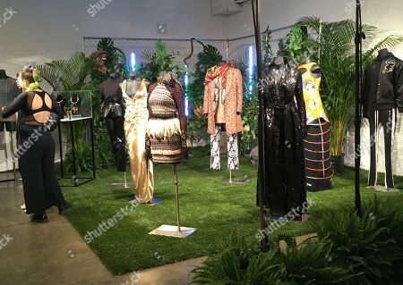 """Fashion from a small collection inspired by the upcoming superhero film """"Black Panther,"""" are displayed in New York on . The designs were created by the brands Chromat, Cushnie et Ochs, Fear of God, LaQuan Smith, Ikire Jones, Sophie Theallet and TOME, with capsule collections by jewelry designer Douriean Fletcher and shoe designer Aurora James of Brother Vellies"""