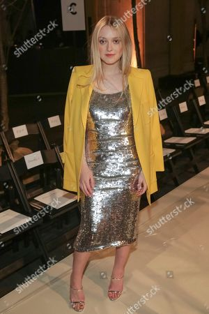 Actress Dakota Fanning attends the Oscar De La Renta 2018 Fall/Winter Runway Show during New York Fashion Week at the Cunard Building on in New York