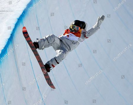 Chloe Kim, of the United States, runs the course during the women's halfpipe finals at Phoenix Snow Park at the 2018 Winter Olympics in Pyeongchang, South Korea