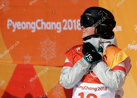 Arielle Gold, of the United States, reacts to her score during the women's halfpipe finals at Phoenix Snow Park at the 2018 Winter Olympics in Pyeongchang, South Korea