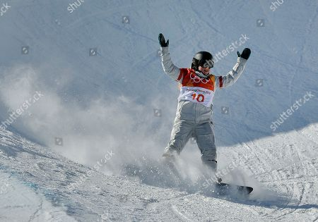 Arielle Gold, of the United States, reacts as she finishes during the women's halfpipe finals at Phoenix Snow Park at the 2018 Winter Olympics in Pyeongchang, South Korea