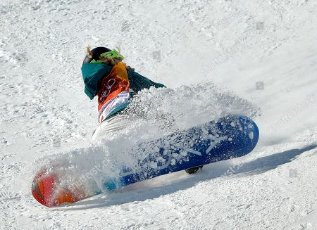 Emily Arthur, of Australia, crashes during the women's halfpipe finals at Phoenix Snow Park at the 2018 Winter Olympics in Pyeongchang, South Korea