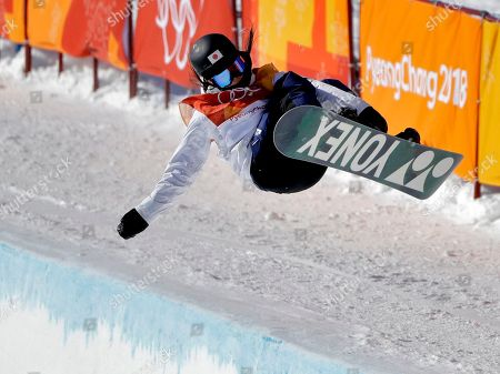 Sena Tomita, of Japan, jumps during the women's halfpipe finals at Phoenix Snow Park at the 2018 Winter Olympics in Pyeongchang, South Korea